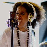Picture shows Bibi McGill with her LCT 640 reference condenser studio mic