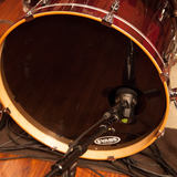 This image shows the DTP 640 REX dual element kick-drum microphone on a kick drum