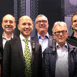 Pictured (L-R) are Moritz Lochner, LEWITT Head of Product Management; Jim Pace METAlliance Executive Director; Roman Perschon, LEWITT Founder & CEO; Mike Van Der Logt, LEWITT Head of Sales; Al Schmitt, METAlliance Co-founder; Matthias Pleyer, LEWITT Head of Marketing; and Ed Cherney, METAlliance Co-founder. Photo by David Goggin.