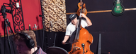 Bob Horn records the upright bass with best studio microphones LEWITT